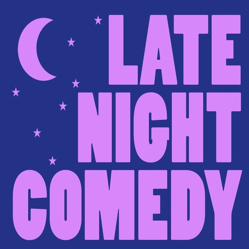 A graphic illustration of a half moon and stars in the left corner with the text 'Late Night Comedy' in pink font along the right of the image.