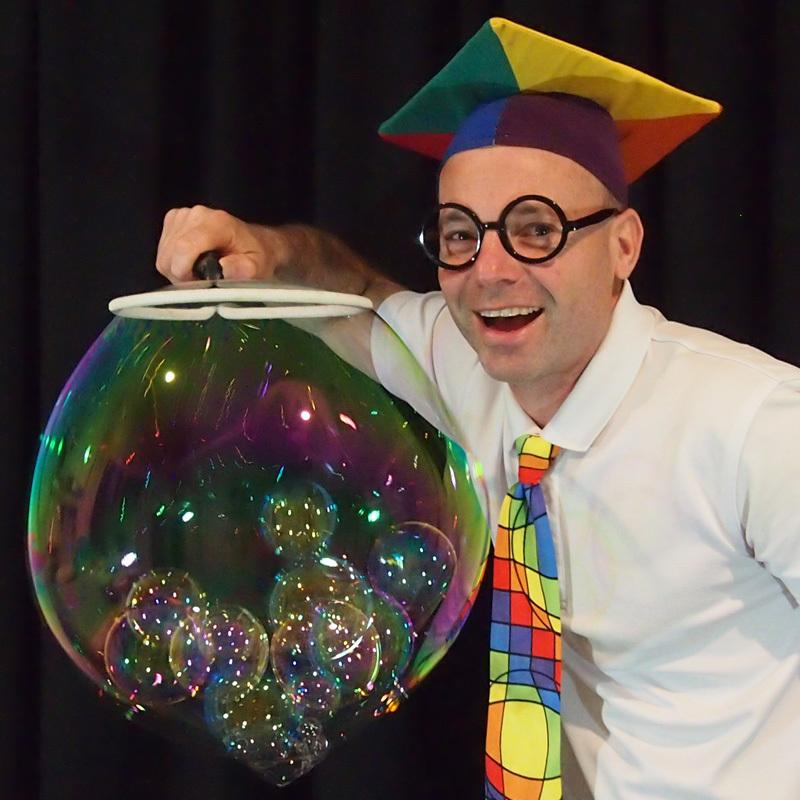 Scaled the scientific bubble show square