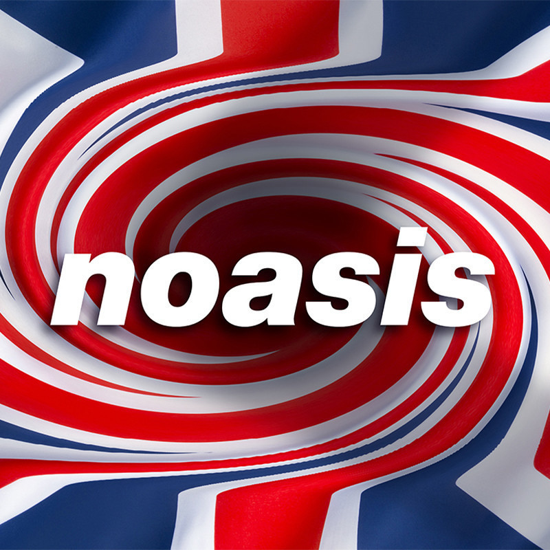 An image of a distorted Union Jack emblem with the text 'noasis' across the image in white font.