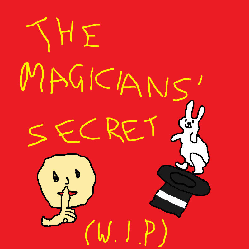 The Magicians' Secret - A logo image with two illustrations. There is a person with a face with a finger to their mouth and a black hat with a white rabbit. There is text that reads 'The Magicians' Secret' and '(W.I.P)' in yellow handwritten font. The background is red.