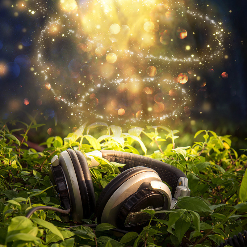 Plant Songs: art installation & exhibition - A whimsical image of a pair of headphones laying on the grass. Gold sparkles float in the air above.