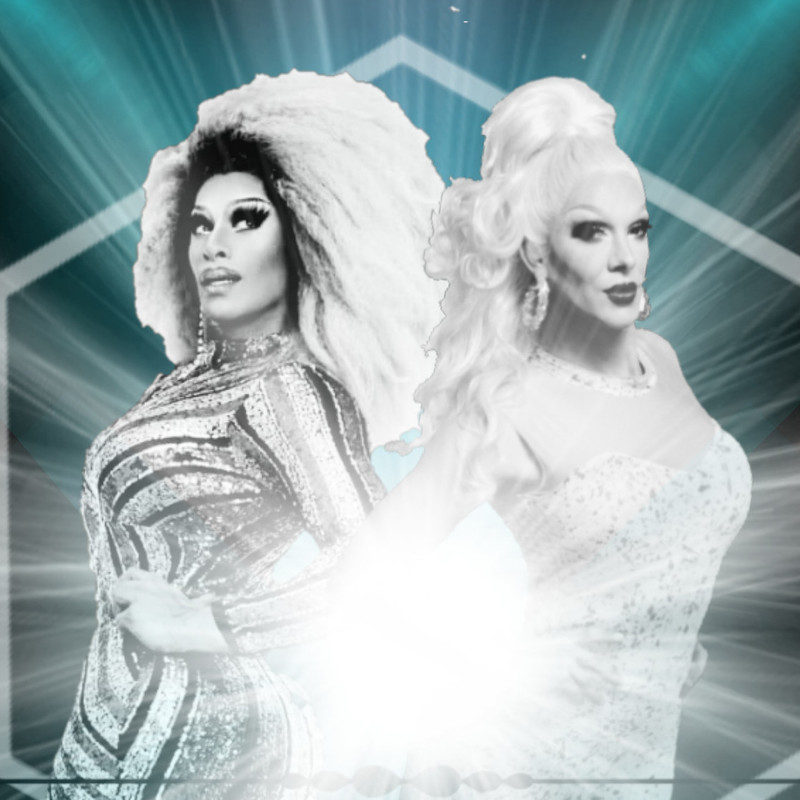 Metamorphosis - A photo of two people standing back to back. They are both wearing extravagant dresses and have voluminous hair and dramatic makeup.