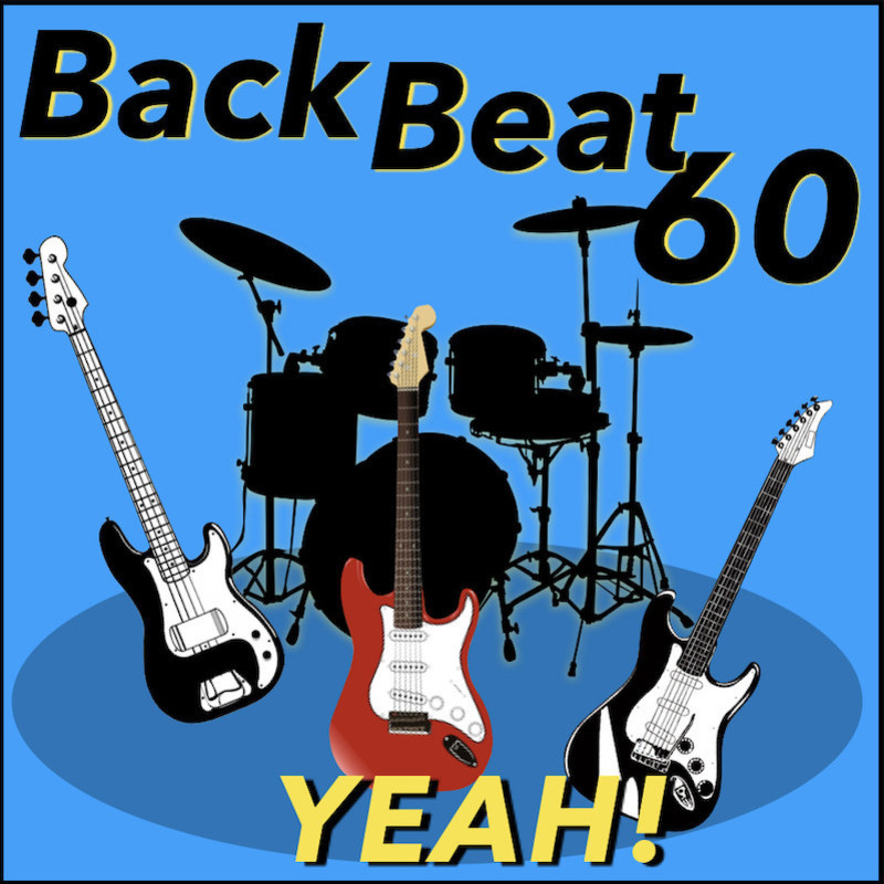 BackBeat 60 presents 'We Say Yeah!' - A graphic image featuring a black drum kit and three guitars in the forefront of the image. The text at the top of the image reads, 'Back Beat 60' in black font and the text at the bottom of the image reads, 'Yeah!' in yellow font. The background is bright blue.