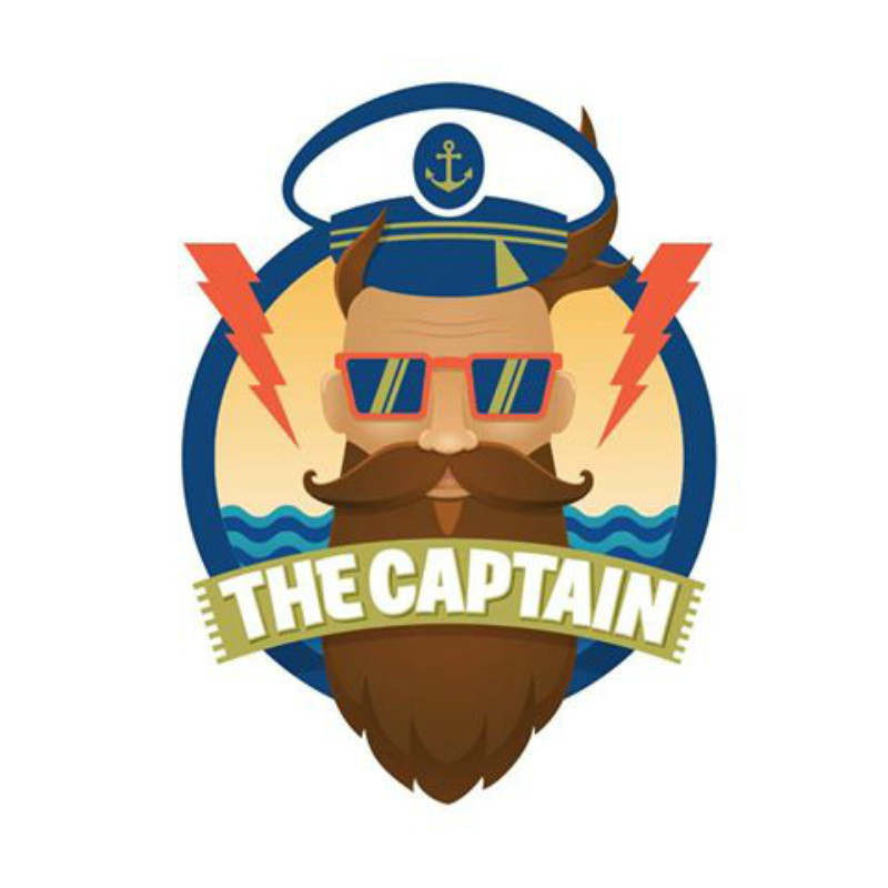 A Journey Through Sound - A graphic image of a man wearing a sailors hat and orange framed sunglasses. The man also has a brown moustache and long beard. The text across his beard reads, 'The Captain' in white capital letters.