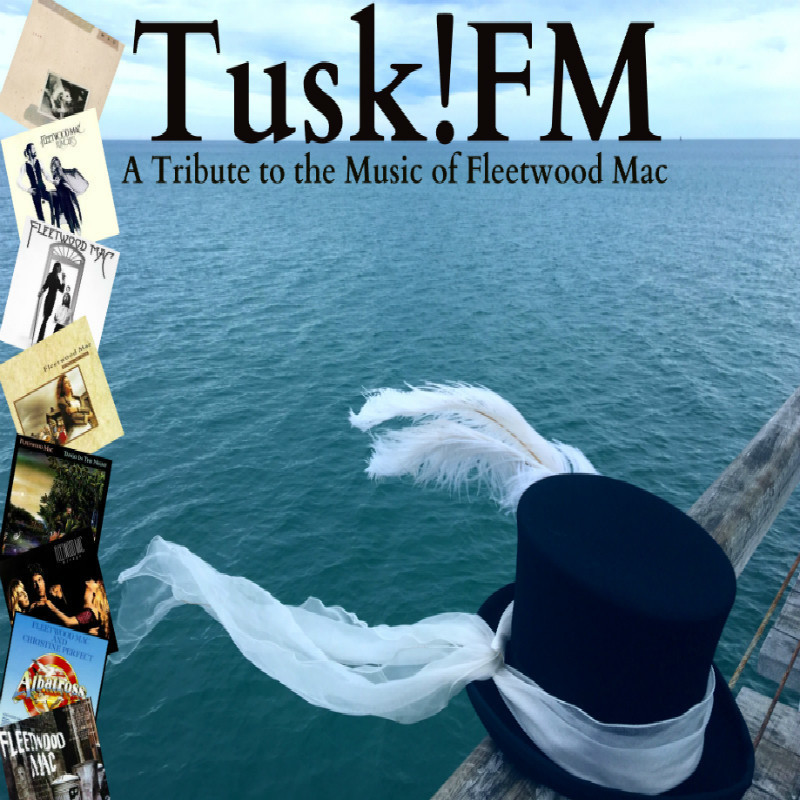 A black top hat with a white ribbon around it sits on a jetty with the ocean in the back ground. Images of Fleetwood mac albums are listed down the side of the image.