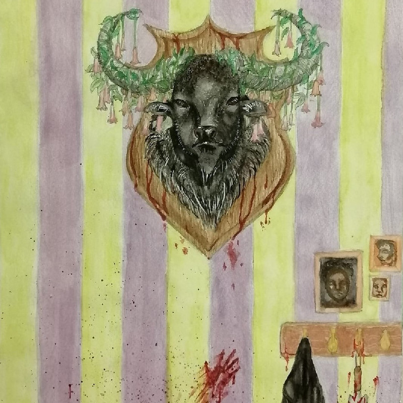 A drawing of a water buffalo head mounted on a green ah purple striped wall. There is a hand print smear in blood at the bottom of the wall.