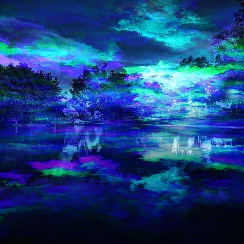 BOREALIS - A photo of a lake with trees in the background. The image is vividly illuminated with blue, green and purple light.