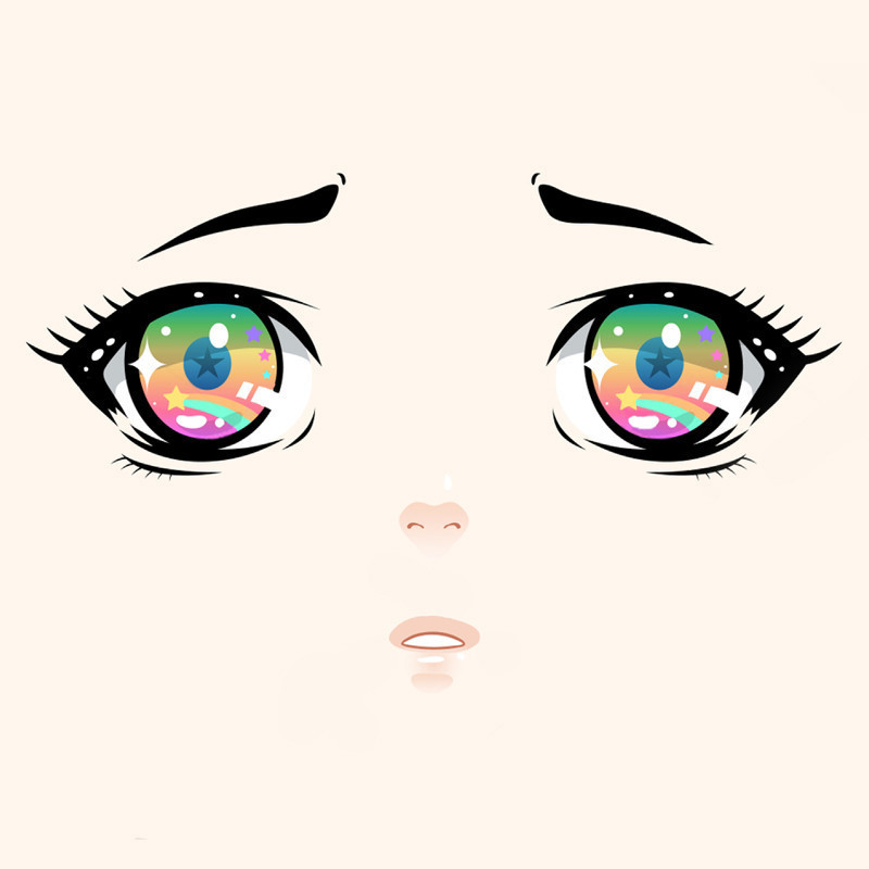 Anime style cartoon features on blank cream background. Two rainbow coloured eyes with big black eyelashes, 'concerned' looking small black eyebrows and tiny nose and mouth in the centre of the image.