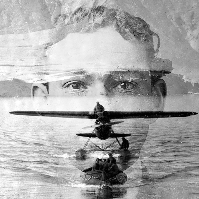 The Eye of Wilkins - A black and white image of three separate photos blended together. The image features a small old-fashioned plane, a small canoe and a person's face.