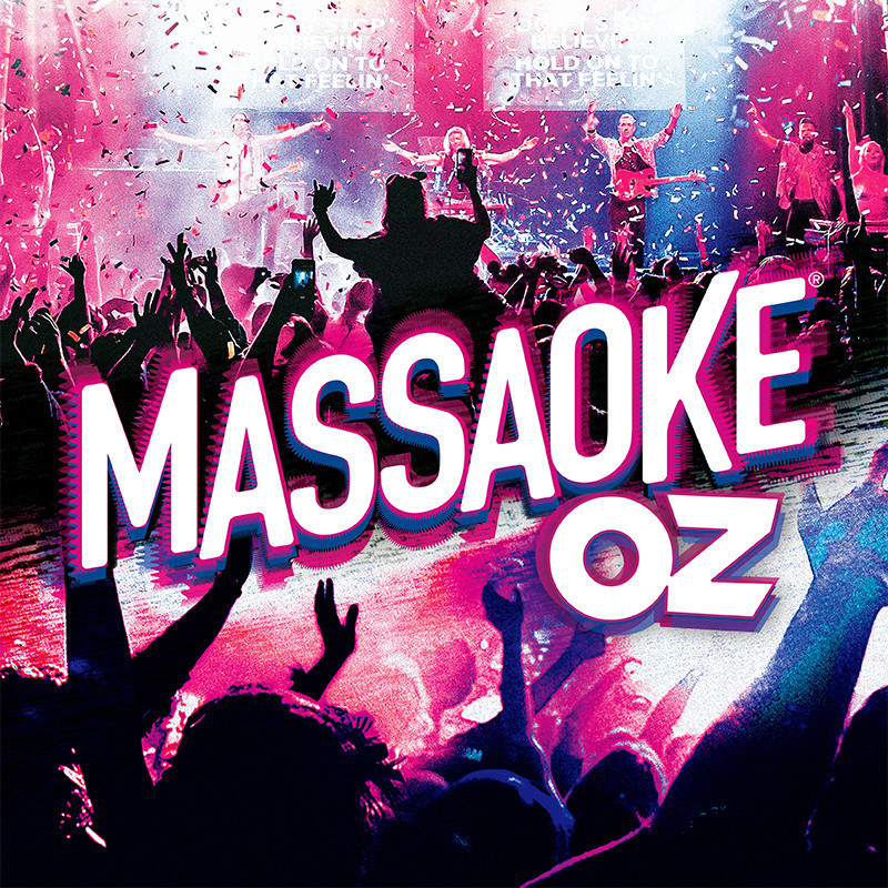 Massaoke Oz - An image that features a band performing on stage with a large audience of people cheering. There is confetti in the air. The text on the image reads 'Massoke Oz' in white font.