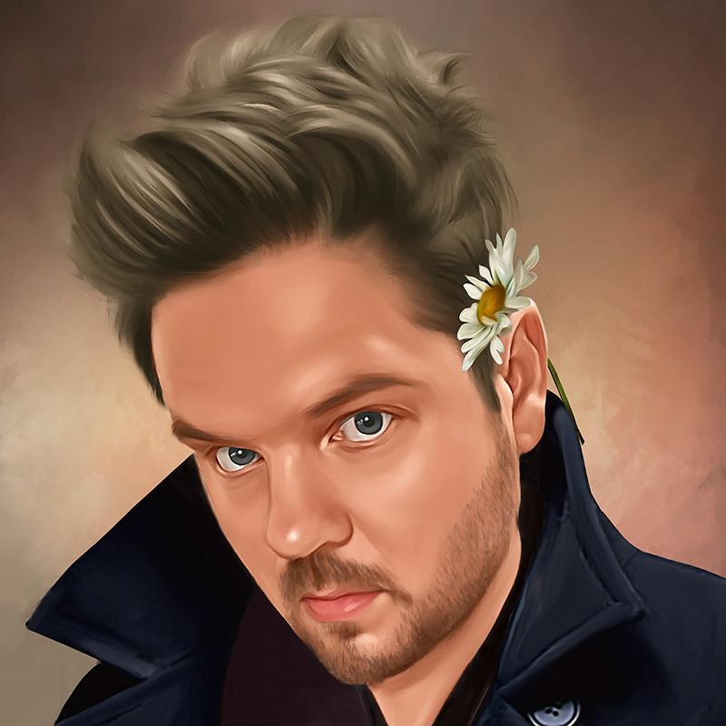 Portrait of a Narcissist - A graphic illustration of a person staring. They are wearing a dark blue coat with the collar up and they have a white flower tucked behind one ear.