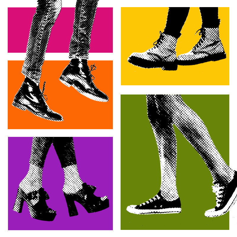 Prospect Art Walk - A black and white graphic illustration of four different pairs of shoes with five different coloured rectangles in the background.