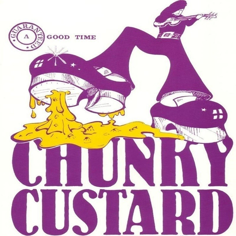 Chunky Custard's Huge Fringe Party - A graphic logo image of a person playing guitar. They have big chunky shoes and are standing on yellow custard underneath their shoes and purple text that reads 'Chunky Custard' in purple lettering.