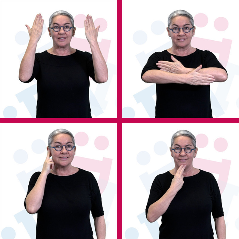 Night DEAF - Four separate images of a woman with grey hair wearing a black t-shirt and blue framed glasses demonstrating Australian Sign Language (Auslan).