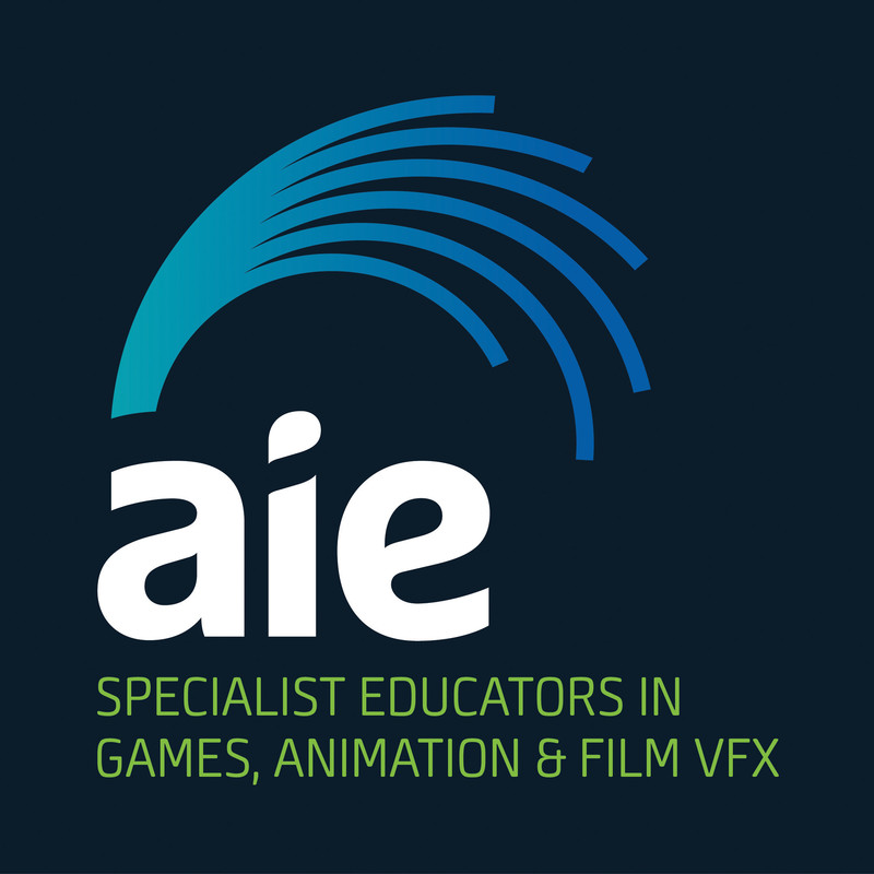 """A dark green background with a wave like blue logo, large white text in lower case lettering spells """"aie"""", underneath is green text reading """"specialist educators in games, animation and film vfx""""."""