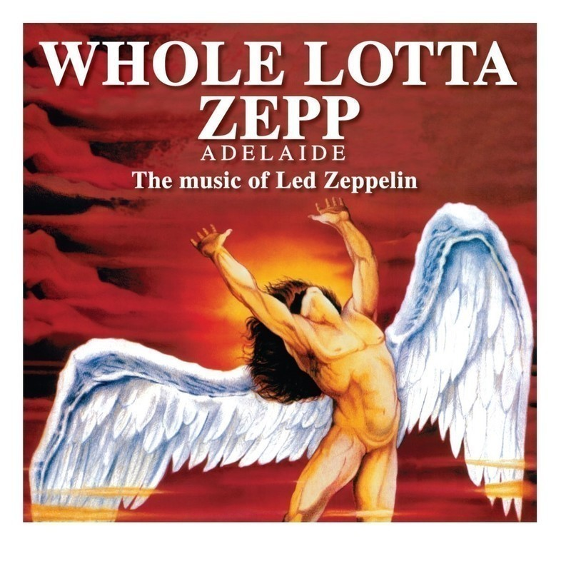 The words Whole Lotta Zep are over laid the album artworks for a Led Zepplin album. It s a drawing of a naked man with wings and long hair with his hands up into orange clouds.