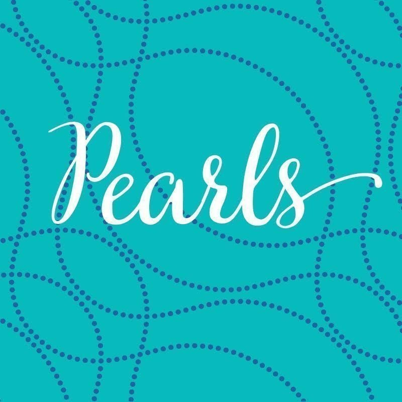 Tracy Crisp: Pearls - The word 'Pearls' is in white cursive font on a blue background. Pearl like strands flow over the image.