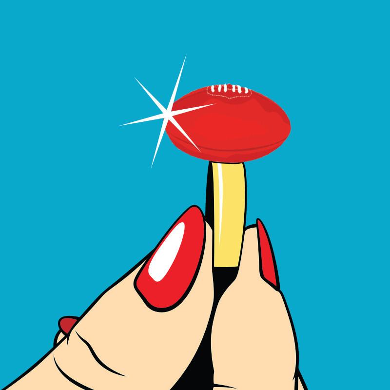 More Than A Game: The Unauthorized Footy Show Musical - A graphic illustration of two fingers with red nail polish holding a ring with a red football on it.