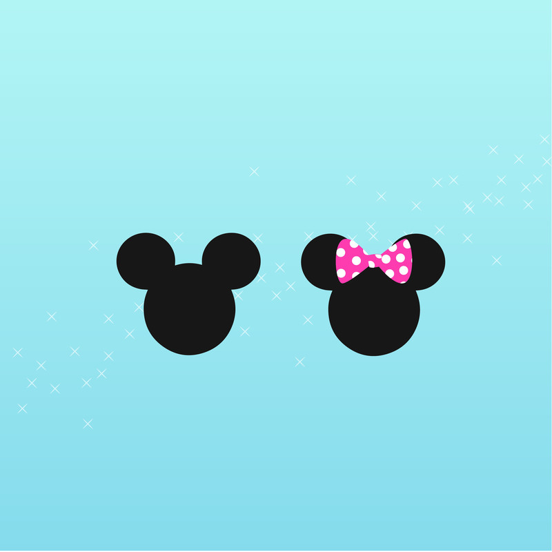 A graphic illustration of three black circles joined together to form the illustration of a mouse with a rounded face and ears, like the cartoon character Mickey Mouse. There is one plain illustration and another with a pink and white spotted bow on the ears. The background is light blue with small white stars.