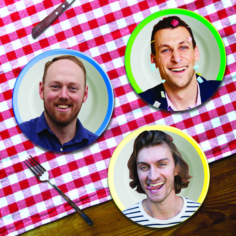 An image of three coloured plates with headshots of three different people on them and a metal fork in the corner. Majority of the background is a red and white gingham print tablecloth and there is a hint of a brown wooden table.