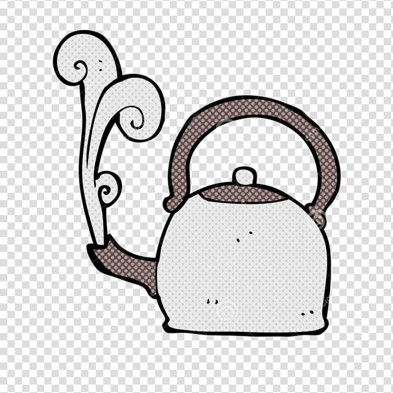 Add Hot Water and Stir! - A digital drawing of a kettle with a plume of steam coming out of the spout. It has a light brown curved handle with a small spots covering it, the base of the kettle is white with small spots. The spout is facing the left and is the same brown colour with spots as the handle. there is no background.