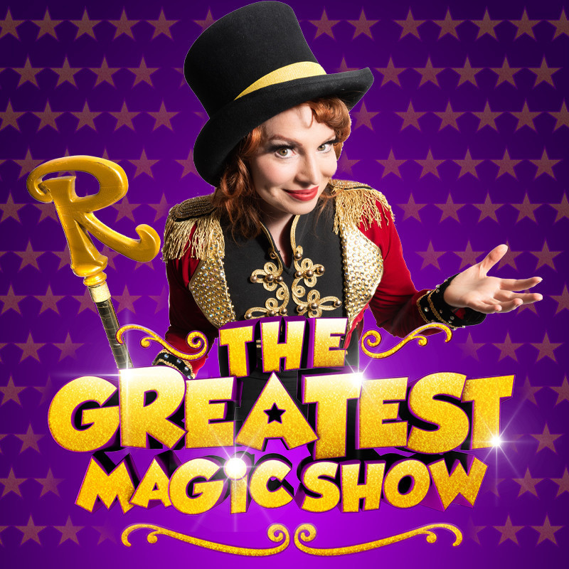 An image of a person dressed up as a circus ringmaster. The text on the image reads 'The Greatest Magic Show' in gold decorative font. The background of the image is purple with gold stars.