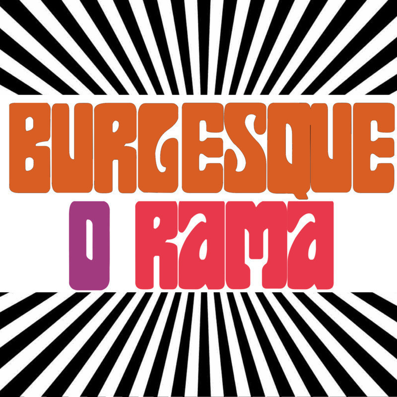Burlesque O Rama presents: Studio 54 - An image of text that reads, 'Burlesque O Rama' in orange, purple and pink decorative bubble font. Around the text are black and white vertical stripes.