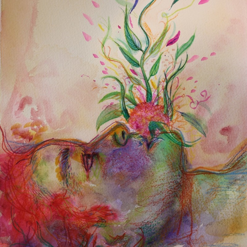 Does it Please You? - A watercolour drawing and painting of a person's head lying across the bottom image. From their mouth a pattern of leaves and flowers emerge upwards.