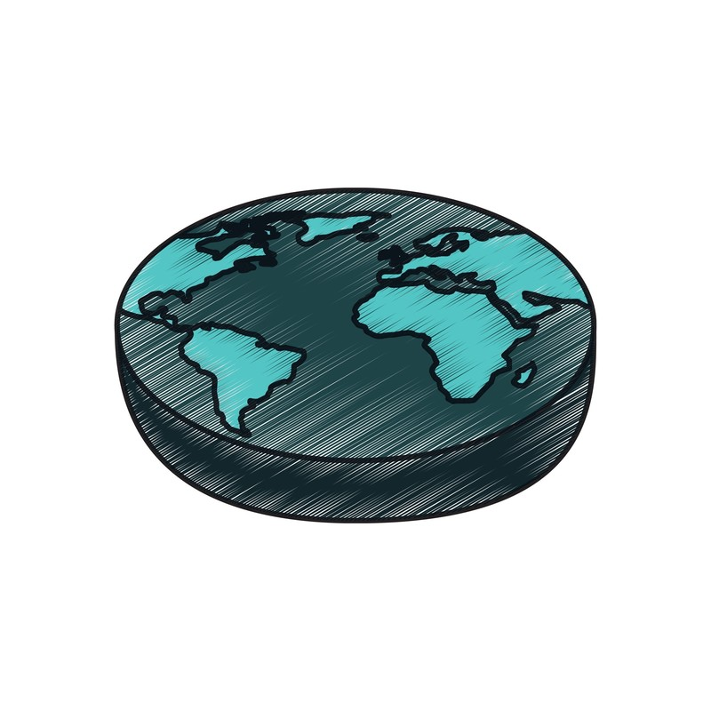 My Favorite Conspiracy Theory - A graphic illustration of a flat Earth.