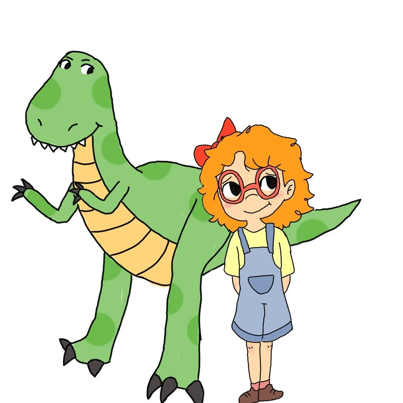 CANCELLED - Billie and the Outback Dinosaurs - A hand drawn image of a girl and a dinosaur. The dinosaur is green and has two legs and two arms. The girl has orange hair, and she is wearing a yellow t-shirt with blue overalls over the top. She has a red bow in her hair and red framed glasses. The background of the image is white.