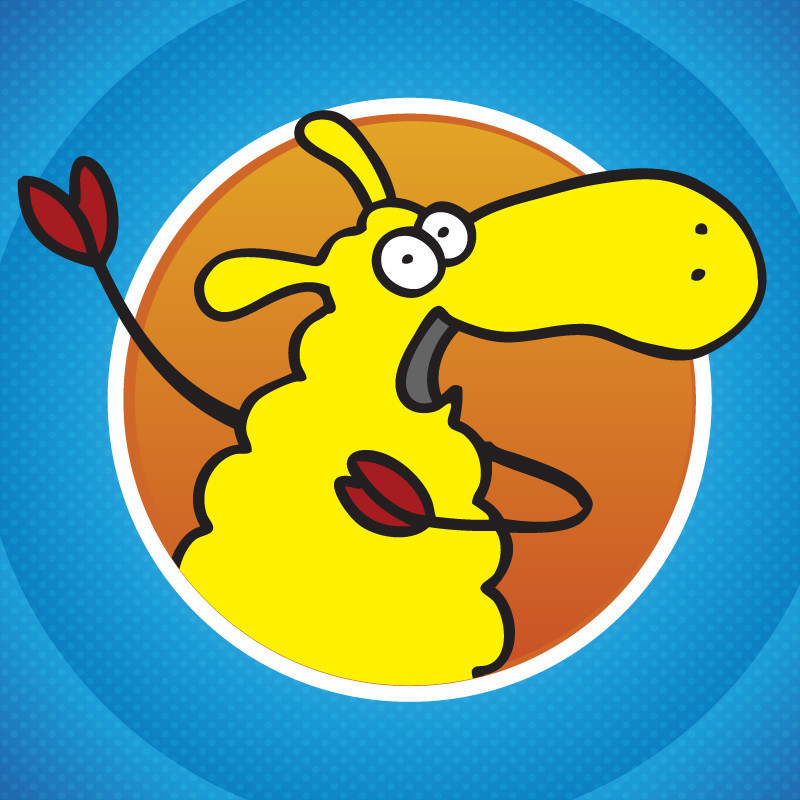 A graphic illustration of a yellow sheep.