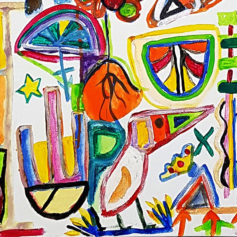 Scaled joe amuso vibrant lives acrylic on canvas fringe 2019