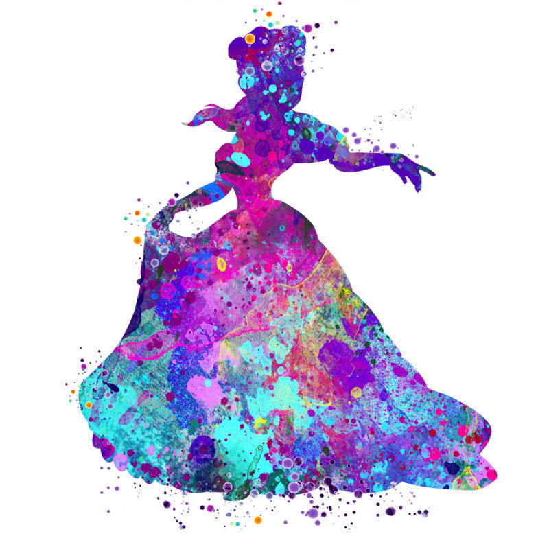 A pink, purple and blue watercolour image that outlines a princess.