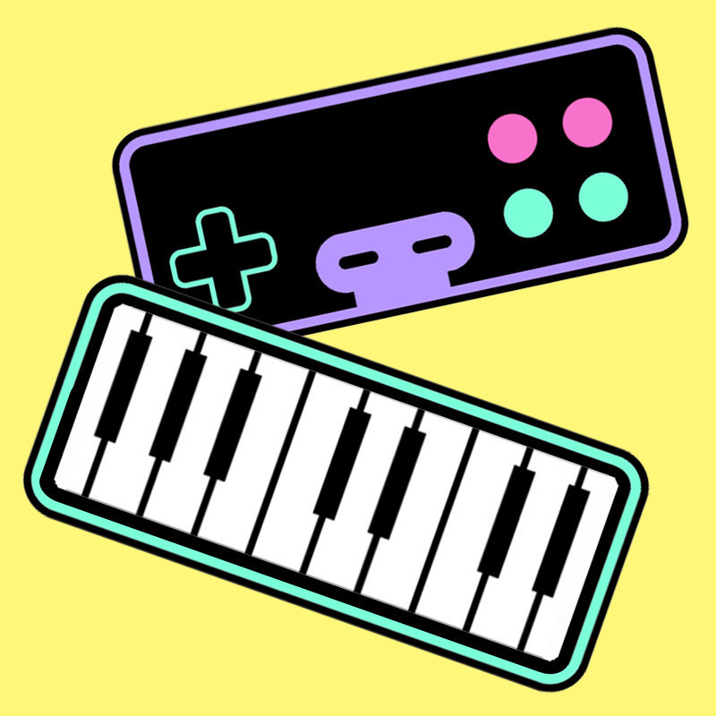 A graphic logo of a keyboard and a black video game console that features a green cross button on the left and two red and two green buttons on the right. The background of the image is yellow.