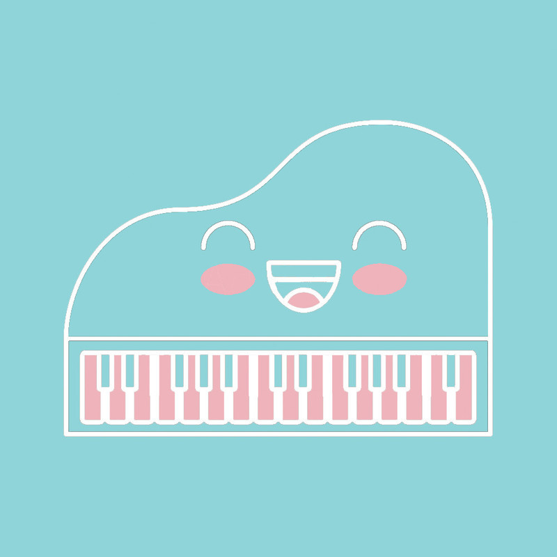 Nerd Hits for 20 Fingers - A Piano Concert - A graphic illustration of a piano outline in white with a smiley face. The keys of the piano are pink. The background of the image is light blue.