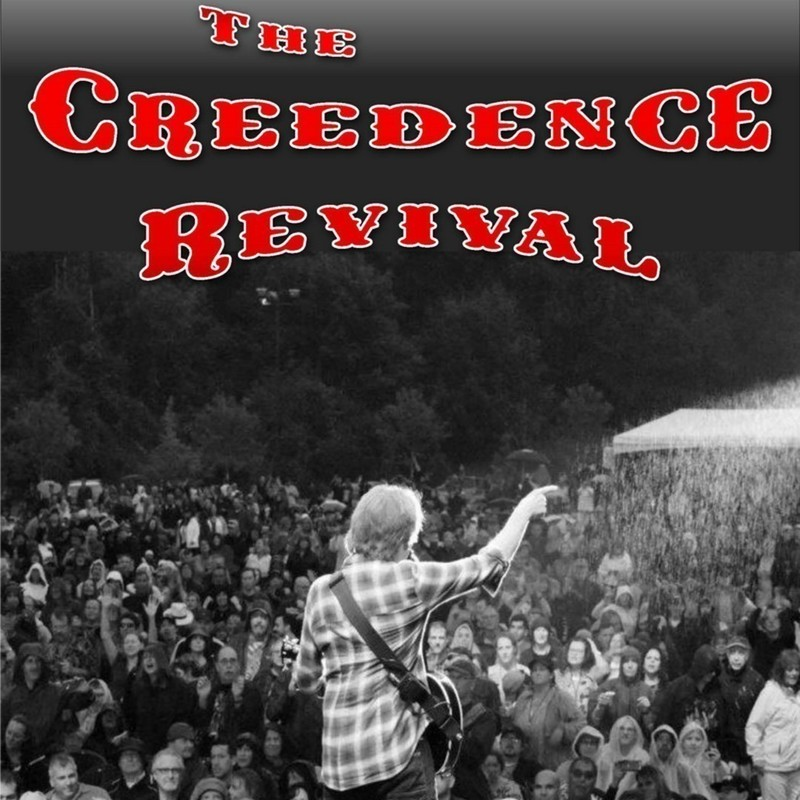 A Creedence Revival - An image of a performer on stage who is pointing into the crowd. He has a guitar attached around his body. The crowd features lots of people standing together looking up at the performer. The text above the image reads, 'The Creedence Revival' in a red font.