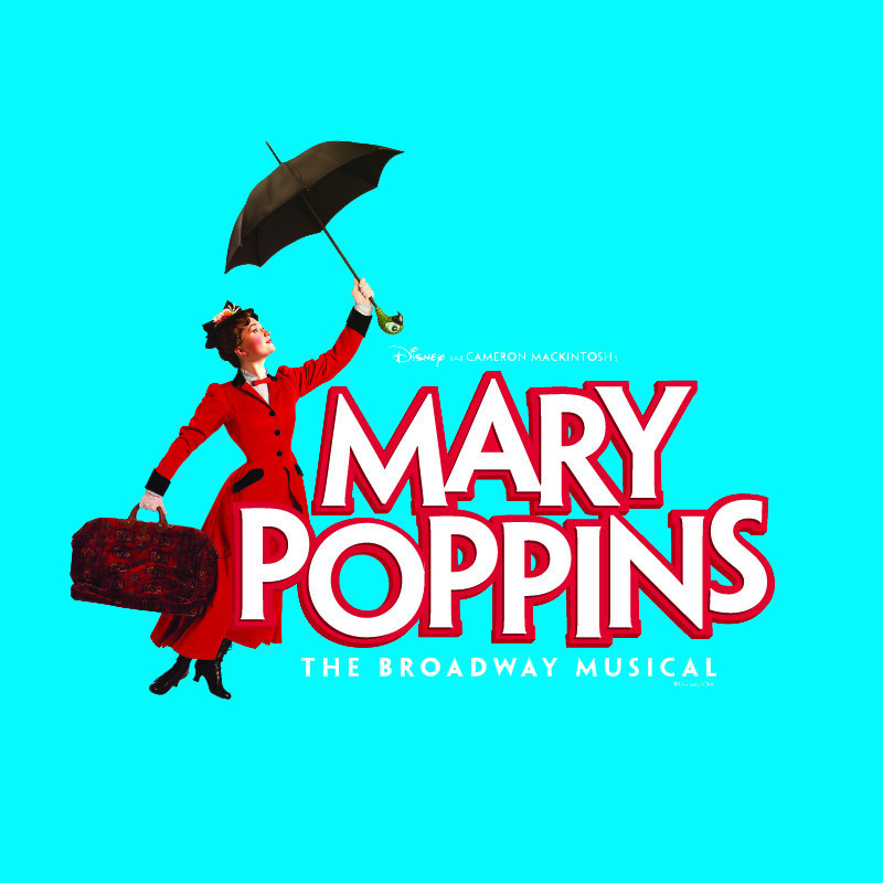 Mary Poppins - An image that features Mary Poppins, a woman wearing a red coat, holding a red bag and black umbrella with text that reads 'Mary Poppins' in large white and red font and 'The Broadway Musical' in white font. The background is bright light blue.
