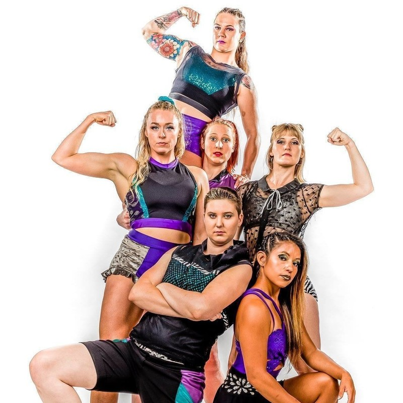 The team from Boss Squad - 6 strong female circus performers posing for the camera