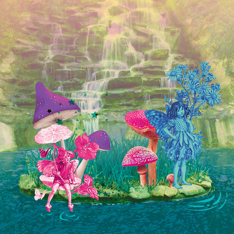 Fringe@5085 - A drawing of two fairies, one pink and one blue, on an island with grass, toadstools, lily pads and flowers. In the background is a waterfall flowing over rocks.