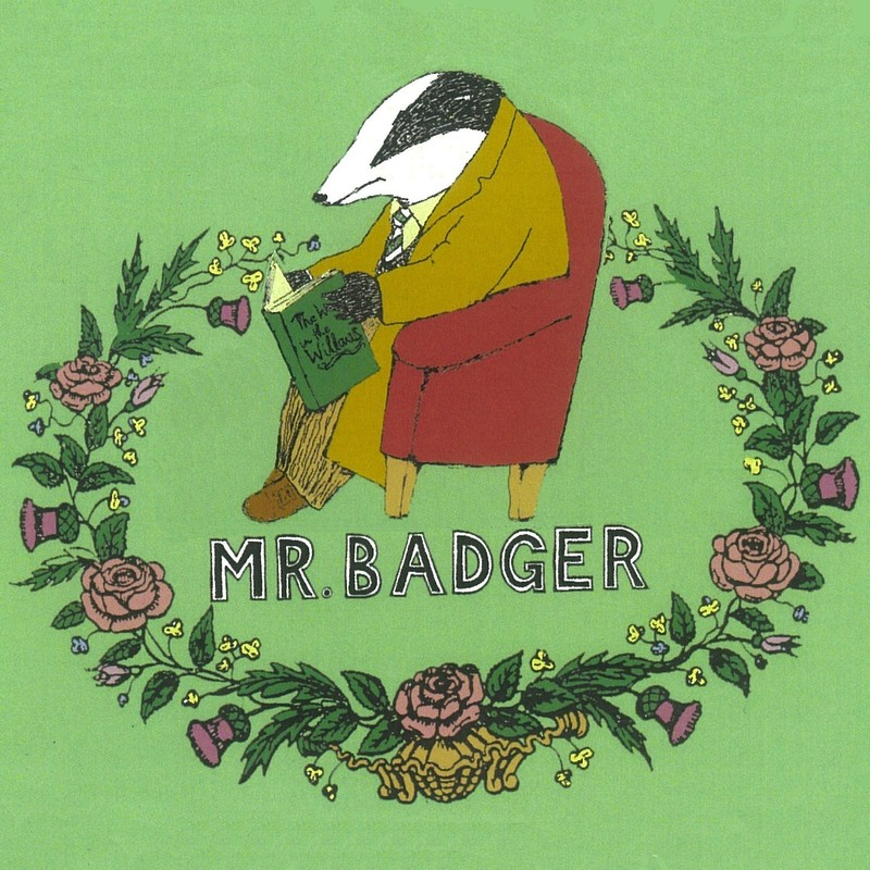 An illustration of a badger wearing a khaki jacket and pants sitting on a red chair and reading a book. Around the badger is a decorative wreath adorned with flowers. In the middle of the illustration the text reads 'Mr. Badger' in black captial letters.