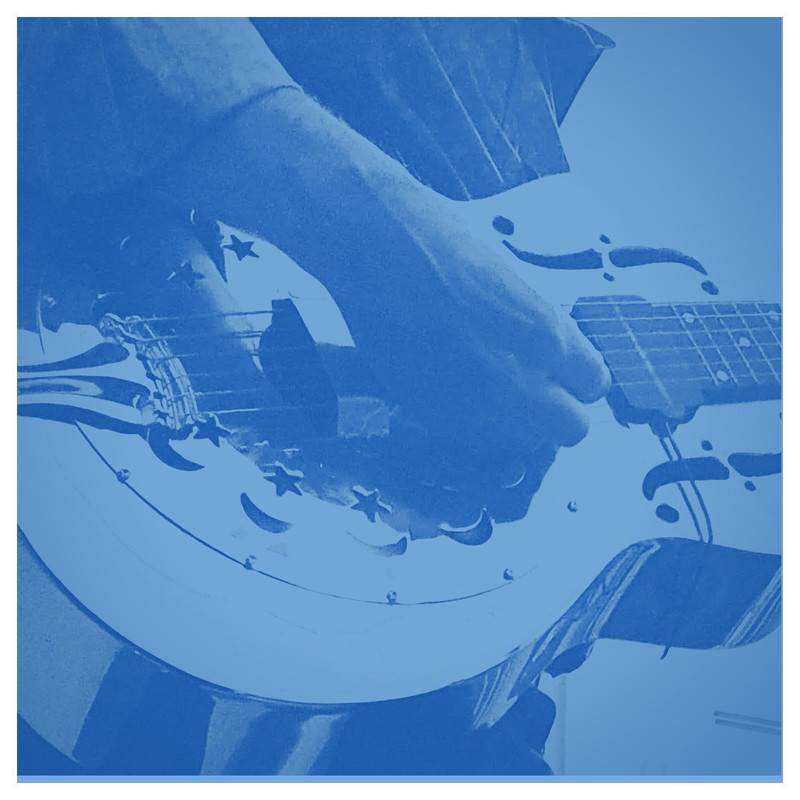 A zoomed in image of a person playing guitar. The image is in different shades of blue.