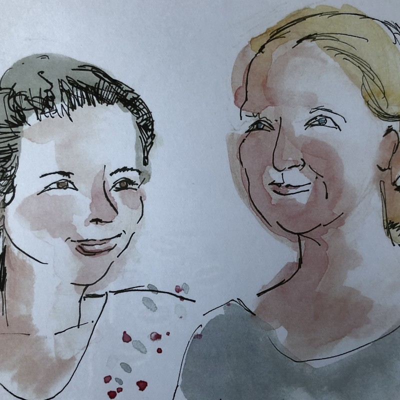 Life According to Kate - A watercolour painting of two people roughly outlined in black pen. The person on the left has grey hair and is smiling. The person on the right has blonde hair and a light green top.