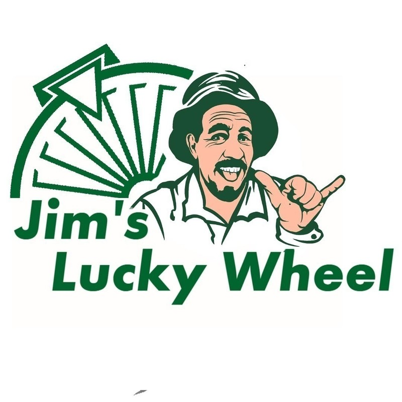 Jim's Lucky Wheel - A graphic illuistration of a man wearing a bucket hat doing the 'Shaka sign' with one hand and an outline image of a spinning wheel. The text on the image reads 'Jim's Lucky Wheel'.