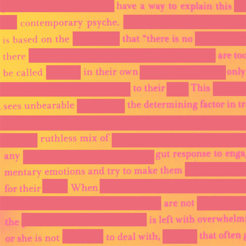 A yellow background with pink writing, every few words are redacted, covered with large pink strips so the text makes no sense.