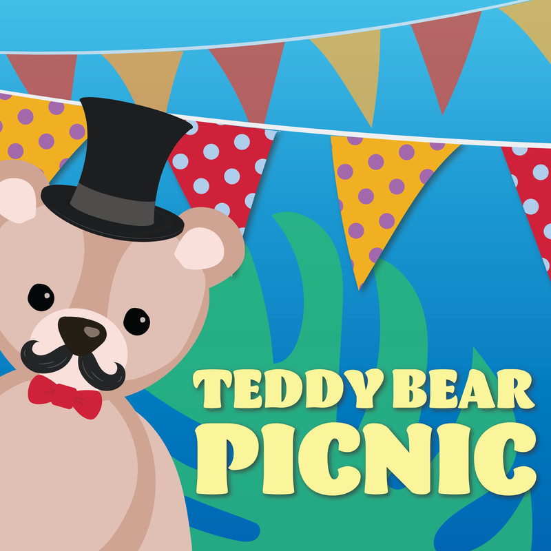 A cartoon of a teddy bear with a curly mustache, wearing a black top hat and red bow tie, leaning out from the corner in front of colourful bunting and a big green leaf