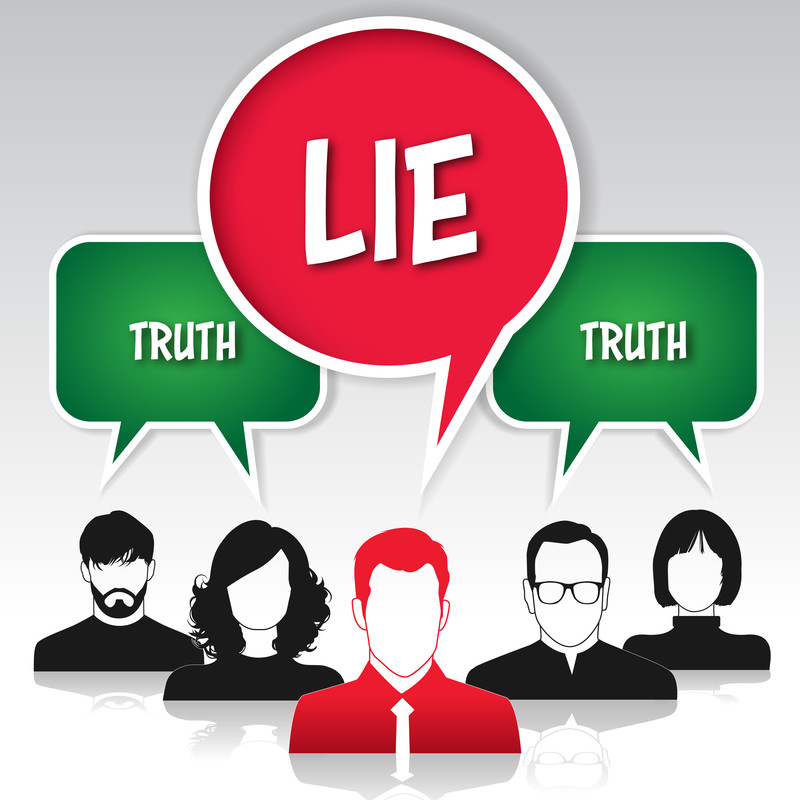 Truth Truth Lie - a graphic images of faceless people with speech bubbles saying truth and lie.