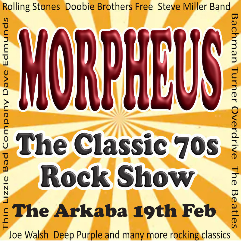 An image that reads, 'Morpheus' in red bubble text and 'The Classic 70s Rock Show' in grey bubble text. The background is yellow and cream coloured stripes.