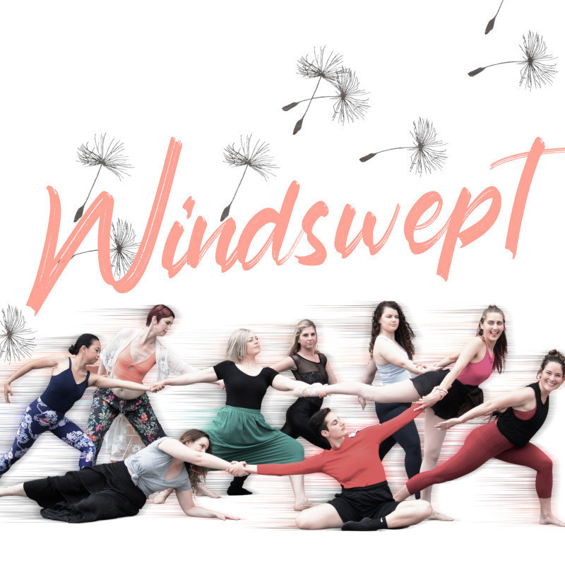 Nine people in various stages of movement, all holding on to one another. Above them in light pink cursive font is the word Windswept. Illustrations of dandelions are around the word.