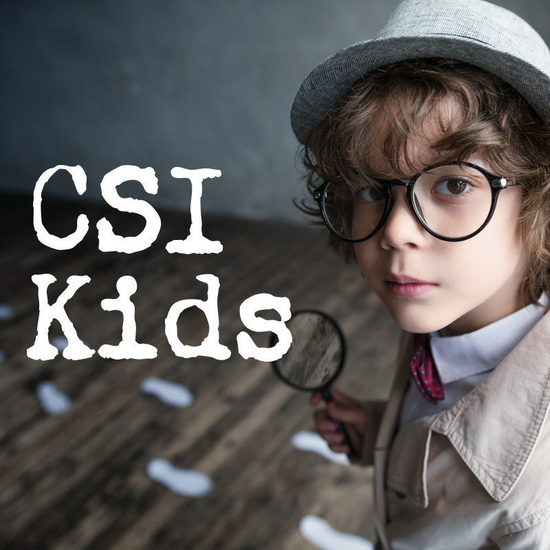 CSI Kids Interactive Detective Game - A close up image of a kid with brown curly hair wearing a grey hat and beige coat peering at the camera. He is holding a black magnifying glass and is wearing black rounded frame glasses. The text on the side of the image reads, 'CSI Kids' in a white font.