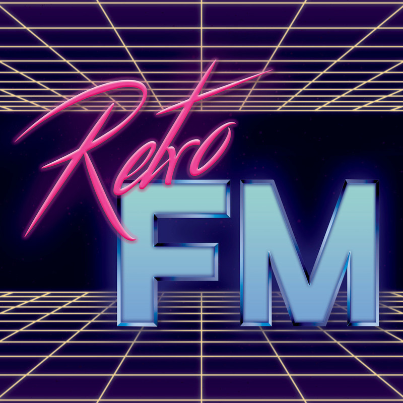 Retro FM - An image that reads 'Retro' in pink decorative font and 'FM' in blue font. The background of the image is dark purple and features yellow perspective grid on the top and bottom of the image.